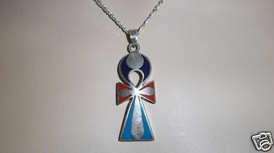 Solid Stamped Silver Egyptian Ankh Enameled Pendant *new* 203