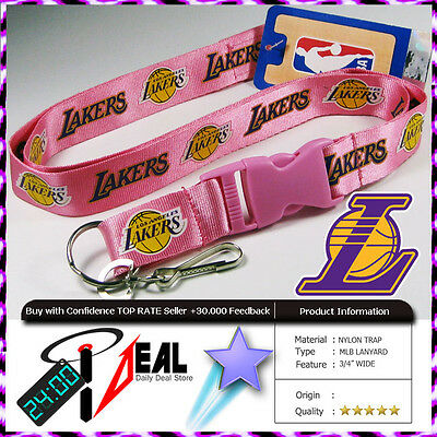 OFFICIAL LOS ANGELES LAKERS NBA LANYARD KEY CHAIN ID HOLDER PINK