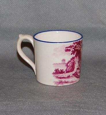 Antique English Puce Pink Transfer Printed Blue Rim Child's Mug Farm Family Mini