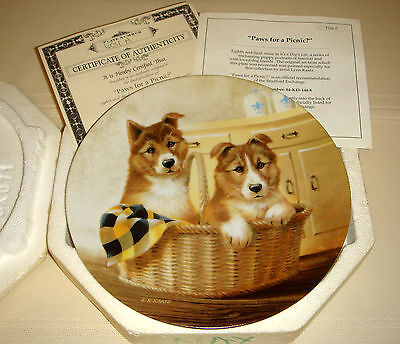 LYNN KAATZ A Dogs Life Irresistibly Cute Short-Haired Collies PICNIC PAWS Plate