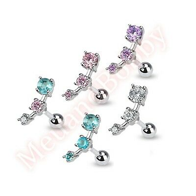 316L Surgical Steel Triple CZ Tragus Cartilage Ear Ring Piercing Stud Jewellery