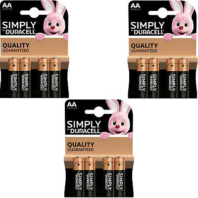 12 x SIMPLY DURACELL AA MN1500 LR6 Batteries 1.5V ALKALINE   3 PACKS 4
