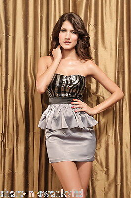 NEW Ladies Silver Sequinned Strapless Fitted Mini Peplum Dress UK 8 10 12