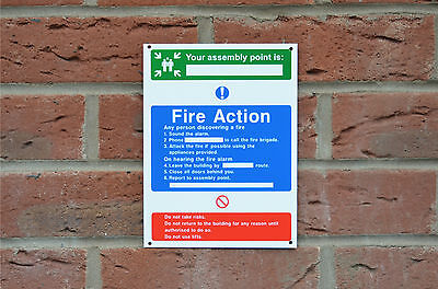 Fire Action Your Assembly Point Is Emergency Evacuation Sign/Sticker/Holed