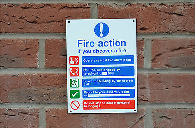 Fire Action If You Discover a Fire Emergency Evacuation Sign/Sticker/Holed