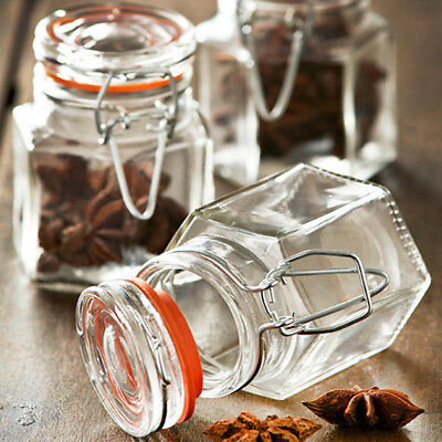 Set Of Glass Clip Top Seal Spice Jars Dried Herbs Chutney Jam Storage Containers