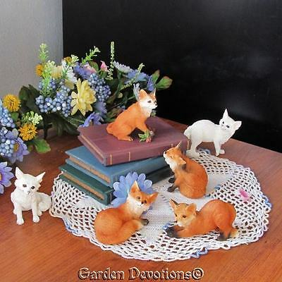 "Set of 6 ADORABLE 3"" FOX FOXES STATUE FIGURINES All Different Positions ~ NEW!"