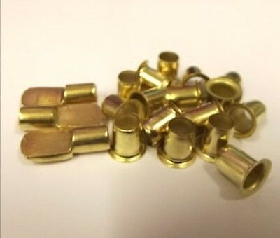 48 ELECTRO-BRASS SHELF SUPPORTS STUD PIN 7mm 48 E/BRASS PLATED SOCKETS SLEEVES