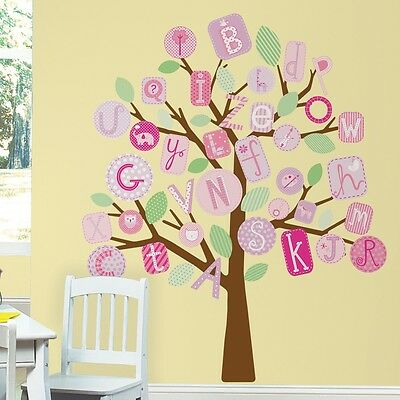 ABC TREE GiaNT WALL MURAL DECALS Alphabet Trees Stickers Baby Girl Nursery Decor