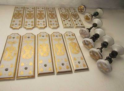 Antique French Empire Napoleon porcelain door handels and doorplates, backplates