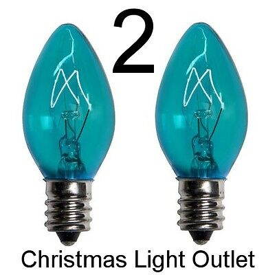 2 C7 Teal / Turquoise Christmas Light Glass Bulbs Transparent Incandescent