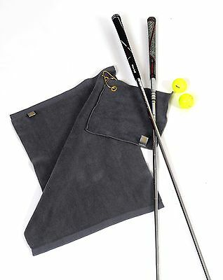 Golf Gift -  Set Of Two Luxury Microfibre Grey Bag Towels -Boxed - Ball Club Bag