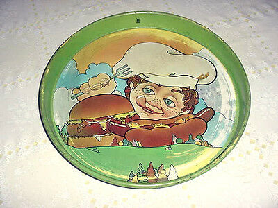 Vintage Hamburger Hot Dog Boy Chef Cheinco Diner Bar Food Serving Metal Tray
