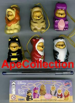 TOMY Set 6 Figure WINNIE POOH LARGE PART 2 Mini Winnies PEEK A POOH Rare NUOVE