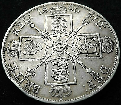 1890 Queen Victoria Silver Double Florin Coin Great Grade (Edge Knock)