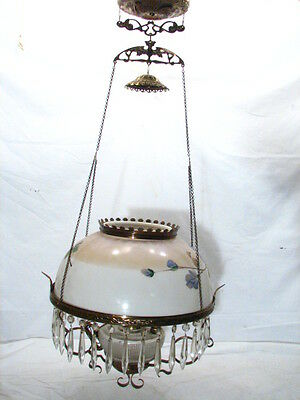 Early Hanging Lamp Dome Hand Painted Milk Glass Shade Early Parlor Light Ornate