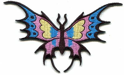 BUTTERFLY blue/pink/yellow EMBROIDERED IRON-ON PATCH **FREE SHIP**  p3648 tribal
