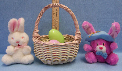 Plush Easter Bunnys  With Woven  Basket  & Plastic Hollow Eggs  Lot of 7