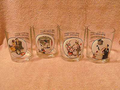 Lot (4) Saturday Evening Post Norman Rockwell Collectible Glasses