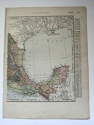 1895 Map Central America & Mexico on reverse