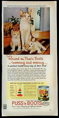 1960 Puss 'n Boots Magazine Print Ad Is That The Dinner Bell Walter Chandoha