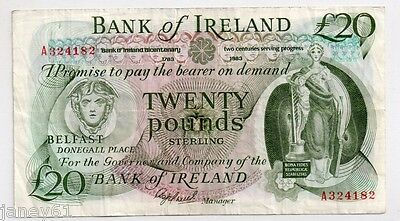 ~ N.I. Bank of Ireland £20 Banknote - 1983 - P69 ~