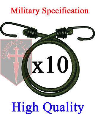 """New 10 x 12"""" BUNGEES Green Military Specification  CORD ELASTIC 30CM HEAVY DUTY"""