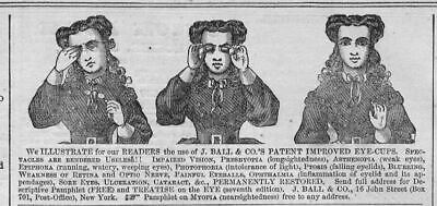 Ophthalmology In 1866 J. Ball And Co.'s Patent Improved Eye-Cups Advertisment
