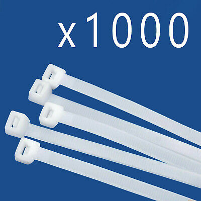 "1000 Pack Lot Pcs Qty - 8"" Inch Nylon Cable Zip Wire Tie 50 lbs - Natural White"