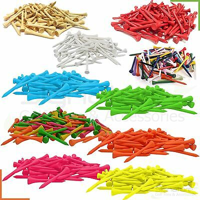 70mm Wooden Golf Tees - Various Colours- 10/25/50/100/250/500 Qtys