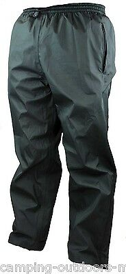 Heavy Duty Rip-Stop Breathable WATERPROOF TROUSERS Black Mens Overtrousers