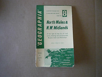 Geographia clearway Mileage map of North Wales & N W Midlands no date 1960's?