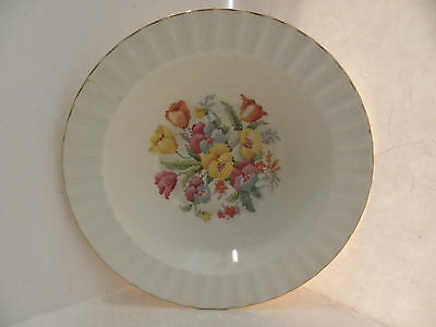 Vintage Edwin Knowles Cross-stitch Floral Flower Tulip Round Serving Bowl