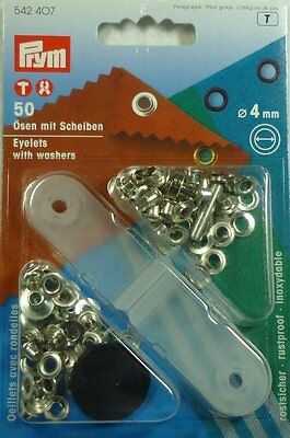 Eyelets With Washers Silver Prym 4mm (50) Tent & Awning