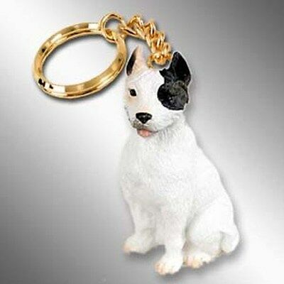 PIT BULL Terrier White Dog Tiny One Resin Keychain Key Chain Ring