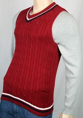 Tommy Hilfiger Red White Navy Blue Cable Knit Sweater Vest NWT X-Large XL