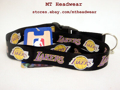 OFFICIAL LICENSED NBA LANYARD ***LOS ANGELES LAKERS BLACK*** KEYCHAIN KEYRING