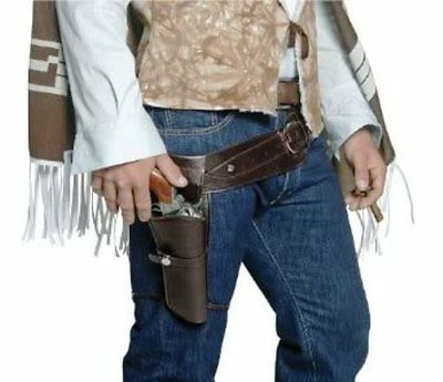 Western Cowboy Single Holster Adult Mens Brown Gunman Gun Costume Belt & Holster
