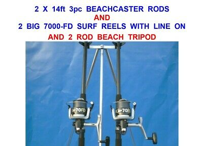 Sea Fishing Set 2 Ngt 12Ft Beachcaster Rods 2 Fd70 Reels +6 Ft Parker Tripod