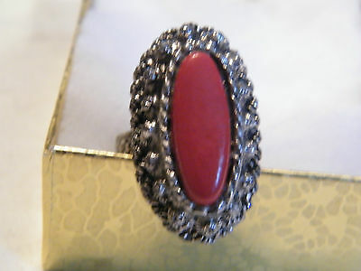 Beautiful Silver Tone Cocktail Ring Deep Coral Cabachon Adjustable WOW