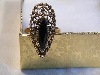 Beautiful GoldTone Cocktail Ring Filligree Black Rhinestone Adjustable NICE