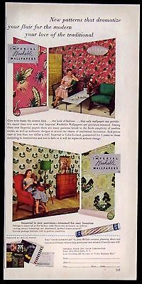 Vintage 1953 Imperial Paper & Color Corp. Washable Wallpapers Magazine Ad
