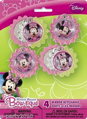 MINNIE MOUSE Bow-tique MIRROR KEY CHAINS (4) ~ Birthday Party Supplies Favors