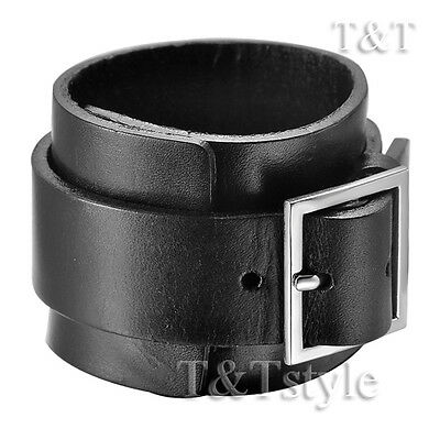 T&T Punk Black Leather Bracelet Wristband (PK29)