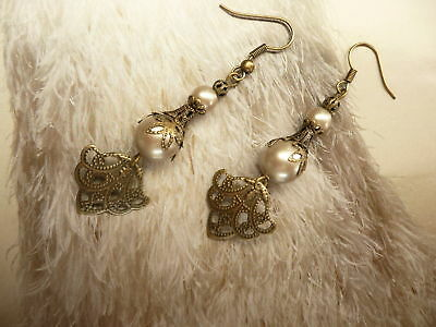 FRENCH FLEUR LACE Pearl Antique Victorian Vintage Cream Platinum Crystal Earring