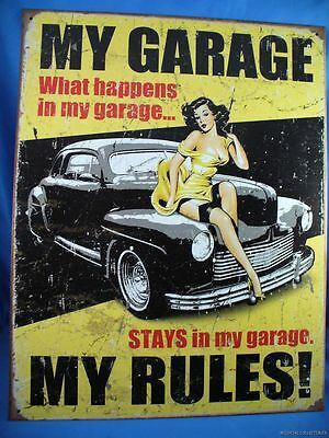 MY GARAGE WHAT HAPPENS IN MY STAYS RULES vintage car woman METAL TIN SIGN usa