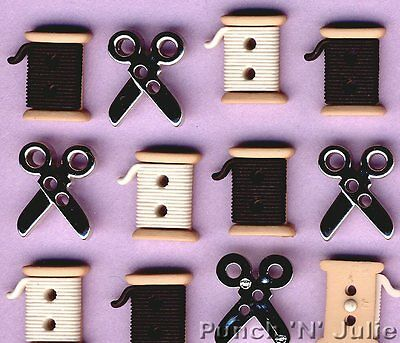 SEW CUTE SPOOLS SCISSORS - Stitch Hobby Novelty Dress It Up Sewing Craft Buttons