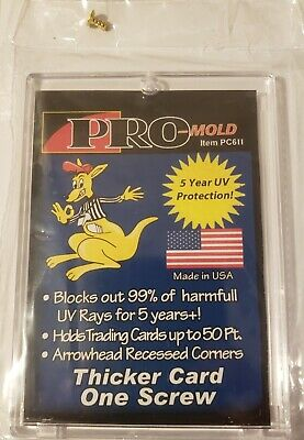 (Pack of 10) Pro Mold (1 Screw) Screw Down Thicker Trading Card Holder 50pt w UV