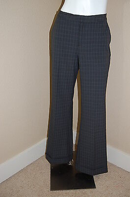 OLD NAVY Gray Plaid Wide/Straight Leg Cuffed Hem NEW Career Stretch Pants~Size 8