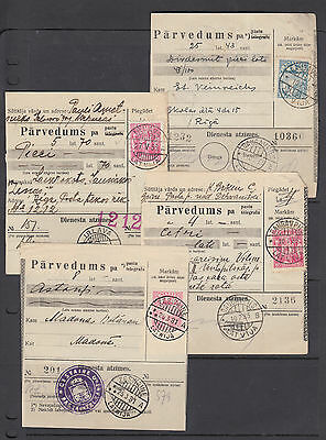 Latvia Sc 177 + others on 4 diff 1935-36 Parcel Cards